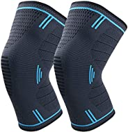 Knee Brace Support, 2 Pack Knee Compression Sleeve for Support & Pain Relief, Men & Women Knee Support