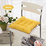 FOLWEP Home Office Indoor Square Chair Pads Pillows Colorful Seat Cushions with Ties,Set of 4pcs,Yellow