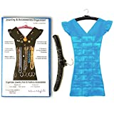 Marcus Mayfield Hanging Jewelry Organizer Closet Storage for Jewelry-Hair Accessories-Makeup-Necklaces-Bracelets-Earrings (Black Satin Hanger, Bright Blue Dress, 27 Pockets 18 Hooks)