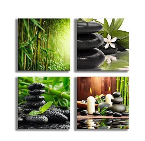 YPY Paintings Bamboo Green Pictures with SPA Zen Stone Candles Flower Print on Canvas Wall Art for Home Décor Bathroom Living Room Bedroom 16inchx16inchx4pcs