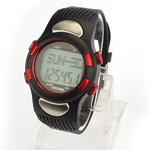 Pc Movement Round Dial (Goddessvan 3D Pedometer Calories Counter Watch Pulse Heart Rate Monitor Red)