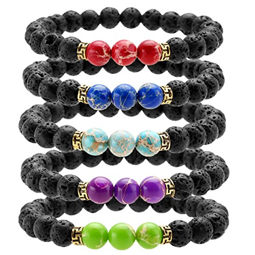 (Top Plaza Black Lava Rock Stone Elastic Beaded Bracelet Healing Energy Stretch Bracelets with 3 Imperial Jasper(Set of 5))