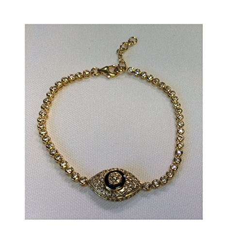 Alef Judaica 7.5 Inch Adjustable Gold Over Silver CZ Tennis Bracelet with Lobster Lock - Single Oval Evil Eye Charm with Black Enamel