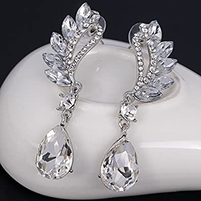 S925 Sterling Silver Teardrop Bridal Dangle Earrings Made with Australian Crystals for Women Girls Gifts