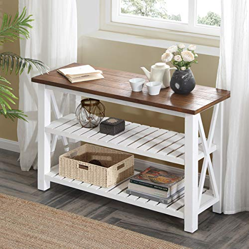 FurniChoi Wood Rustic Sofa Tables, Farmhouse Vintage Console Table with Shelf for Living Room, White and Brown ()