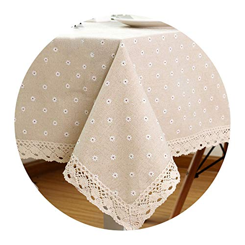 (Stree Corner-home Daisy Flower Pattern Tablecloth Linen and Cotton Lace Edge Rectangular,100x150cm)