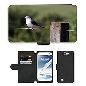 Hot Style Cell Phone Card Slot PU Leather Wallet Case // M00114376 Nature Bird Tropical Birds // Samsung Galaxy Note 2 II N7100