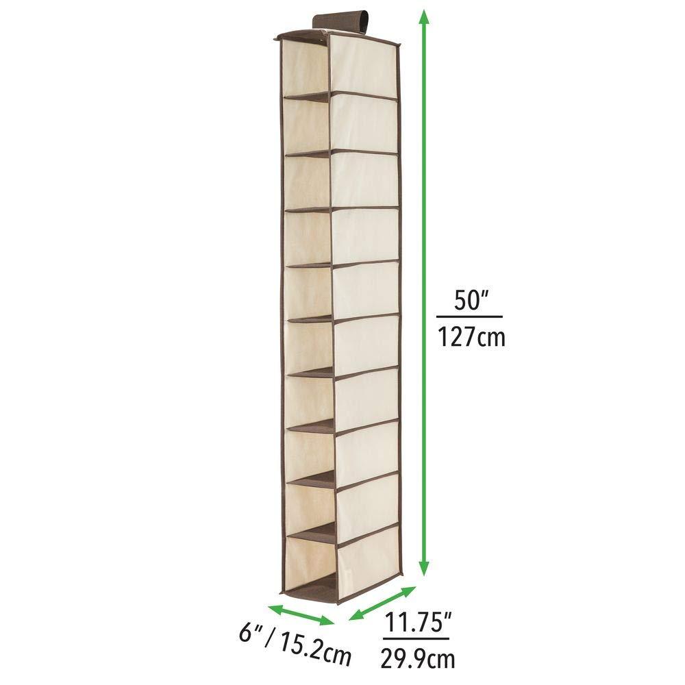 Scarpe mDesign Pensile per Armadio /Perfetto per Vestiti /Grigio in Tessuto con 10/Ripiani/ Accessori e Molto Altro Ancora/