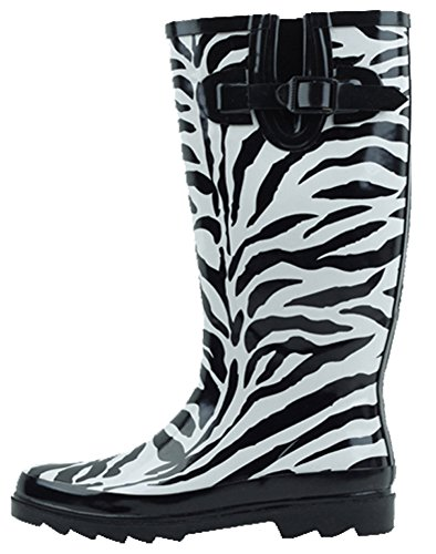 - Cambridge Select Women's Pattern Print Colorful Waterproof Welly Rain Boots,10 M US,Zebra