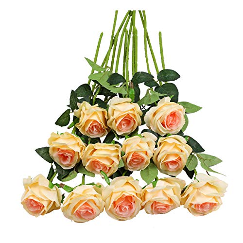 Tifuly 12 PCS Rose Artificial Flower, Single Stem Fake Floral Bridal Wedding Bouquet, Realistic Blossom Flora for Home Garden Party Hotel Office Decorations(Champagne) from Tifuly