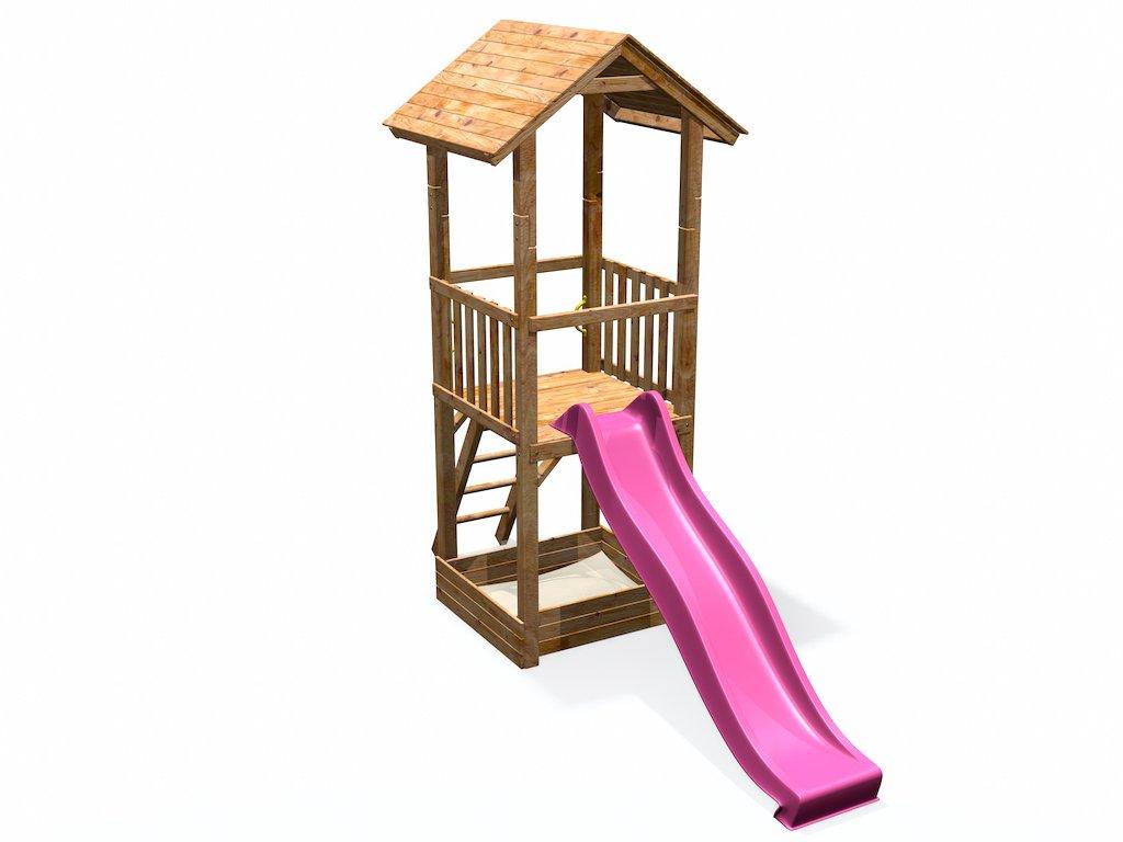 Klettergerüst Holz Streichen : Spielturm mit sandkasten rutsche holzdach deinspielgeraet max
