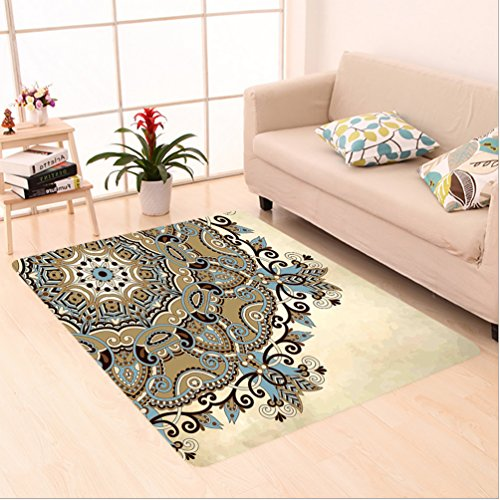 Rug Cocoa Flower (Nalahome Custom carpet ala Ethnic Indian Flower Circle on Lace Ornaments Traditional Boho Design Cream Cocoa Light Blue area rugs for Living Dining Room Bedroom Hallway Office Carpet (4' X 6'))