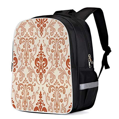Fashion Elementary Student School Bags- Baroque Brocade Flroal Print Pattern - Durable School Backpacks Outdoor Daypack Travel Packback for Kids Boys Girls