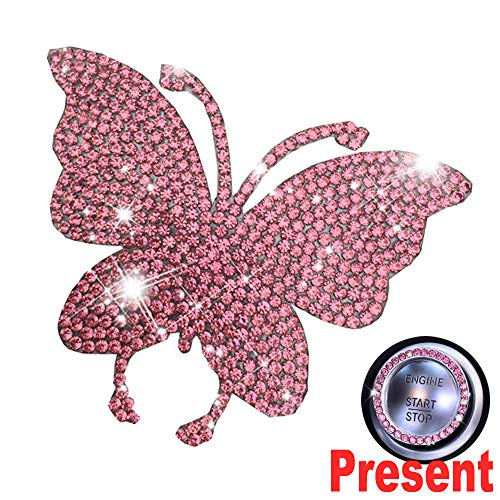 (U&M Crystal Car Decal Auto Car Emblem Sticker Decoration Bling Bling Interior Accessories for Women)