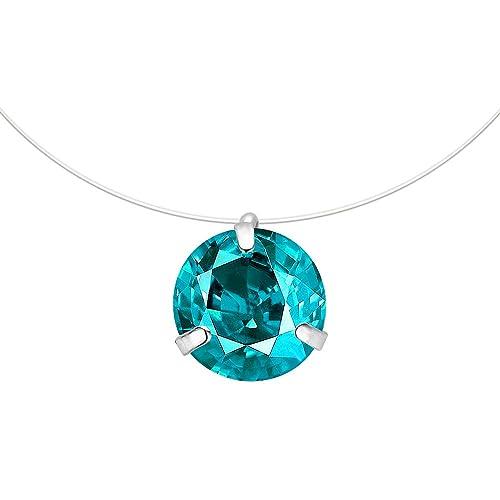 2c7a0f899e0a CARSINEL Collar Colgante Solitario Cristales Cubic Zirconia Línea de Pesca  Gargantilla Invisible para Mujeres Niñas