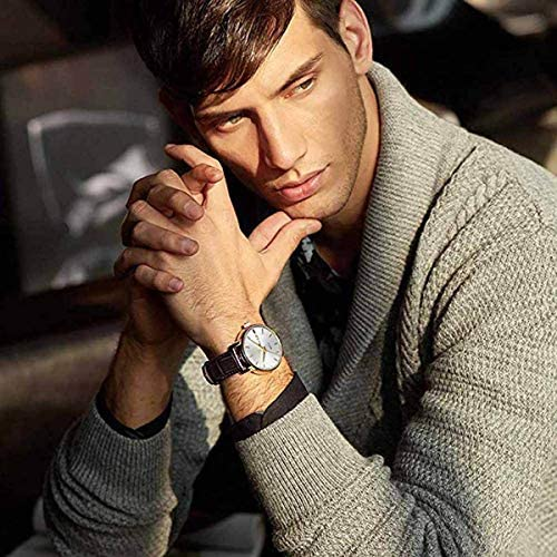 Men Women Watches Brown Leather-OLEVS Classic Analog Quartz Watch Week Date Casual Luminous Black/Blue/White Dial 3ATM Waterproof Wrist Watch Lovers
