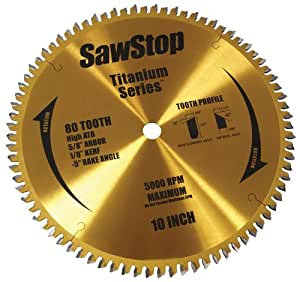 SawStop BTS-P-80HATB 80-Tooth Titanium Series Premium Woodworking Blade, 10-Inch with 5/8-Inch Arbor