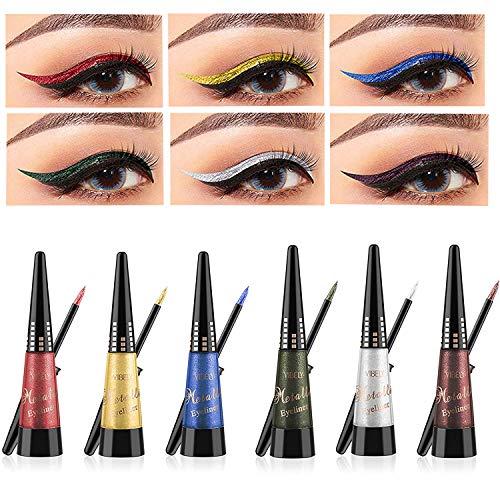 Coosa Glitter Colorful Liquid Eyeliner [6Colors] Long Lasting Waterproof Eyeliner Shimmer Pigment Glitter Eyeliner - 6PCS ()