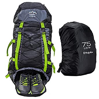 Mufubu Presents 75 ltrs Campsack Rucksack / Camping / Trekking / Hiking Internal Frame Backpack for Outdoor Sports - Black + Neon Green