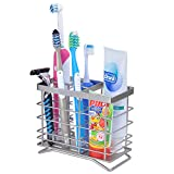 ECROCY Extra Large Stainless Steel Toothbrush Holder - Bathroom Office Kitchen Multi-functional Organizer Stand Rack - 6 Slots for Toothbrush, Toothpaste, shaver, comb, facial cleanser