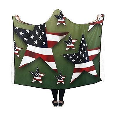 Jnseff Hooded Blanket Star Usa Flag American Flag Stars And Stripes Blanket 60x50 Inch Comfotable Hooded Throw Wrap