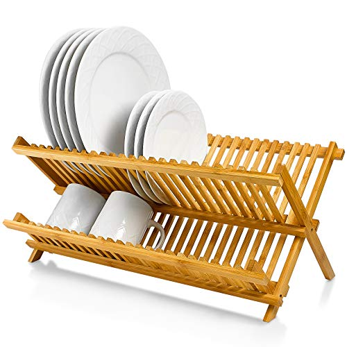 Bamboo Dish Rack 20 x 13 Inch - Wood Collapsible Drying Rack 100% Natural Bamboo - Folding Kitchen Plate Holder.