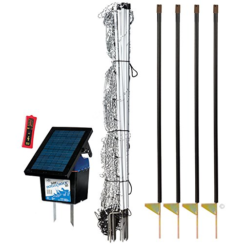 Premier 42'' ElectroStop Plus Starter Kit - Includes White ElectroStop Plus Electric Net - 42'' H x 100'L with Double Spiked Posts, FiberTuff Support Posts, Solar Fence Energizer, Wireless Fence Tester by Premier 1 Supplies