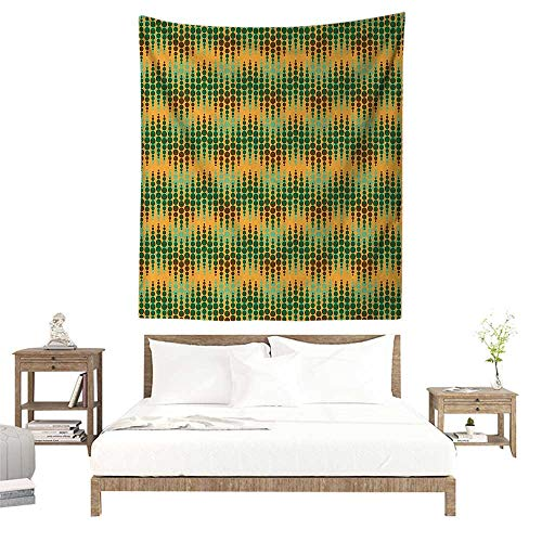 Optical Dots Wallpaper - alisoso Wall Tapestries Hippie,Abstract,Geometric Repeating Pattern Big Little Polka Dots Optical Design Print,Marigold Green Brown W57 x L74 inch Tapestry Wallpaper Home Decor