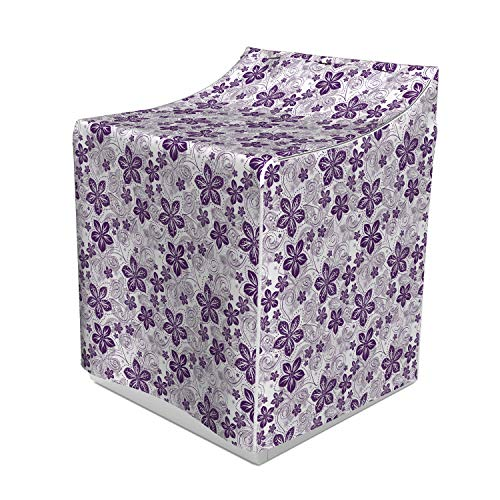 Lunarable Violet Washer Cover, Swirls and Dots Floral Arrangement with Abstract Composition Geometric Elements, Washroom Decor with Dust Protection, 29