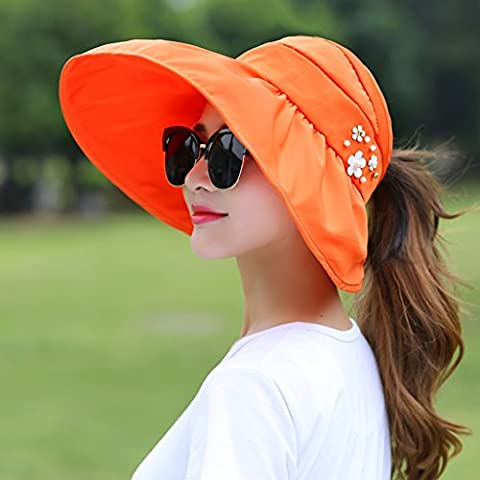 Hyun times Hat summer hat summer summer woman ladies anti-ultraviolet big along the beach sunscreen folding canopy ( Color : Orange (The Middle Season 1 2 3 4)