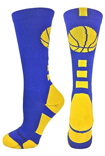 fan products of MadSportsStuff Basketball Logo Athletic Crew Socks, Small - Royal/Gold