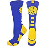 MadSportsStuff Basketball Socks with Basketball Logo Athletic Crew Socks (Over 20 Colors)