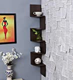 Indian Gifts Shoppee Zigzag Corner Wall Mount Shelf Unit/Racks and Shelves/Wall Shelf/Book Shelf/Wall Decoration (Walnut Finish, Brown)