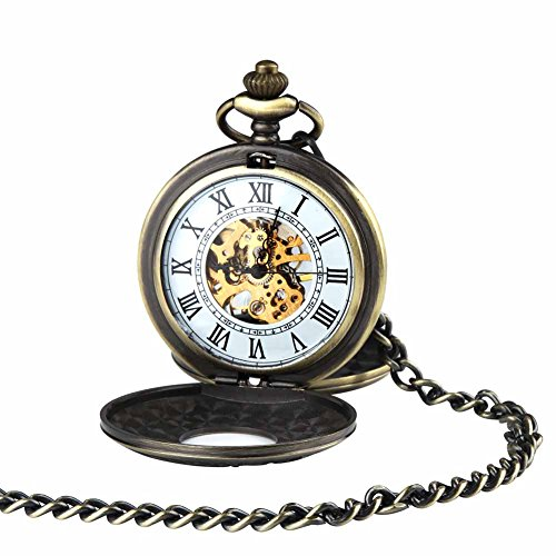 Antique Double Hunter Mechanical Pocket Watch for Men Women Retro Skeleton with Chain + Box (Antique Ladies Watch)