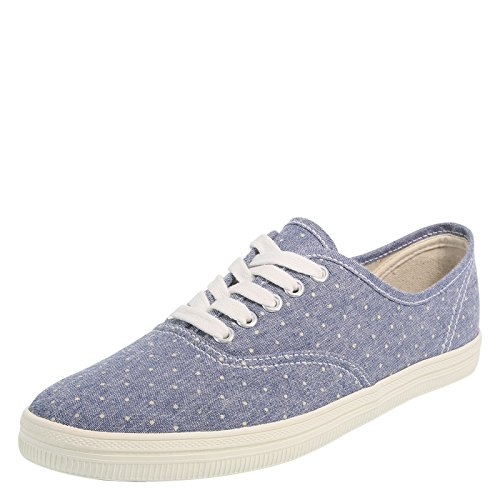 (city sneaks Blue Cream Polka Dots Women's Classic Bal Sneaker 9 Regular)