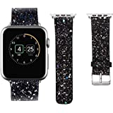 Low Price Compatible With Apple Watch Band 38mm 40mm 42mm 44mm Leather Iwatch Strap Extreme Deluxe Bling Glitter Bracelet Wristband Apple Watch Series 4 Series 3 Series 2 Series 1 Sport Edition Black