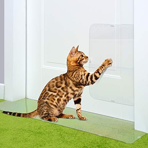 PETFECT Carpet Cat Scratch Protector & Door Guard 2-Piece Set - Tough See-Thru Deterrent w/Slip Stopper Design for Floors & 30 Inch Doorways ()
