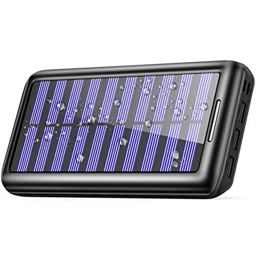Banco de energía solar,BERNET Solar Power Bank 24000 mAh Dual USB cargador de batería solar Batería cargador rápido...