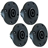 GLS Audio Speaker Jack Twist Lock 4 Pole Round - Compatible with Neutrik Speakon NL4MP, NL4MPR, NL4FC, NL4FX, NLT4X, NL4 Series, NL2FC, NL2, Speak-On - 4 PACK