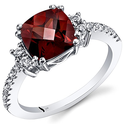 Peora 14K White Gold Garnet Ring Cushion Checkerboard Cut 2.50 Carats Size 8 ()
