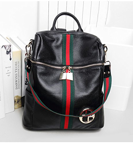 de bolso mujeres Ms Bolso Negro hombro cuero las casual morral Negro capacidad 2 senderismo mochilas del bolsa de bandolera escuela 2 de de gran 4x00YqIz