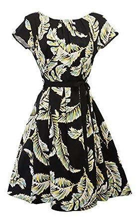 NEUF VINTAGE WW2 rétro années 1930 s années 30 Les années 1940 s Art Nouveau  Floral robe noir e77e068aeff6