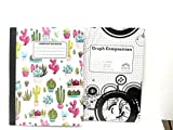 Cacti Composition & 5 x 5 Graph Notebook - Pack of 2