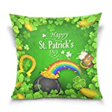 Chen Miranda Double Sided Square Pillowcase St. Patricks Day Cotton Velvet Throw Pillow Cushion Case Cover 16'' x 16'' Invisible Zipper Home Decor for Couch Sofa Car No Pillow Insert