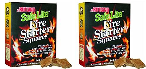 Rutland Safe Lite Fire Starter Squares, 144-Square - 2 Pack by Rutland
