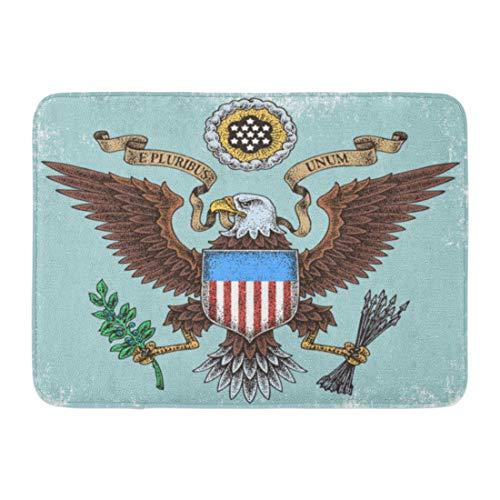 (Emvency Doormats Bath Rugs Outdoor/Indoor Door Mat Blue Seal American Eagle Brown Presidential States United USA Bathroom Decor Rug Bath Mat 16