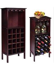 USA Premium Store Wood Wine Cabinet Bottle Holder Storage W Glass Rack Kitchen Home Bar