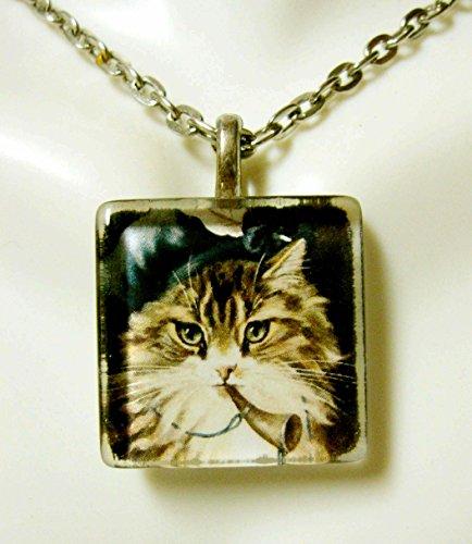 Little Boy Blue nursery rhyme cat pendant with chain - CGP01-119
