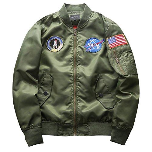Armée Vol Pilot En Blousons Jacket Impression Vrac Homme Bomber Manteau Vert Flight Décontractée Veste Patches RAz6wqv