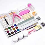 XBYEE Nail Art Supplies Kit Professional - Brushes, Rhinestones, Gel Polish Starter, Acrylic Powder etc. - Nail Art Tools Set, Manicure Tools Kit For Gel Nail Polish